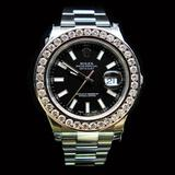 Rolex DateJust 41mm Black Index Diamond Bezel Aprox. 6.0 cts. Mens Wristwatch