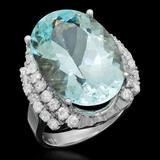 14K Gold 14.95ct Aquamarine 1.17ct Diamond Ring