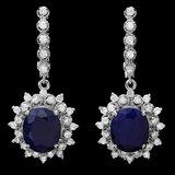 14k Gold 10ct Sapphire 1.65ct Diamond Earrings