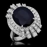 14K Gold 8.64ct Sapphire 1.95ct Diamond Ring