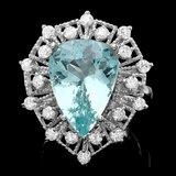14k Gold 8.05ct Aquamarine 1.49ct Diamond Ring