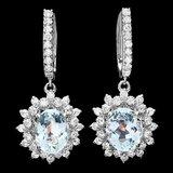 14k Gold 8ct Aquamarine 1.9ct Diamond Earrings