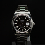 Rolex Stainless Steel Datejust II 41mm Black Dial Men's Wristwatch