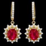 14k Gold 6.5ct Ruby 2.00ct Diamond Earrings