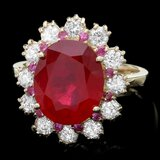 14k Yellow Gold 6.2ct Ruby 1.00ct Diamond Ring