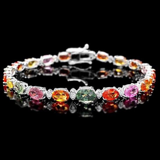 14k Gold 14ct Sapphire 0.75ct Diamond Bracelet