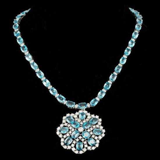 14k Gold 90.00ct Zircon 7.75ct Diamond Necklace