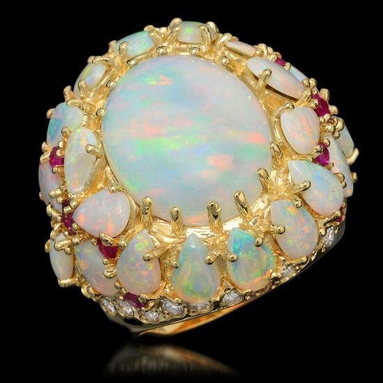 14k Yellow Gold 12.46ct Opal 0.39ct Ruby 1.20ct Diamond Ring