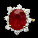 14k Yellow Gold 6.63ct Ruby 1.45ct Diamond Ring