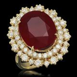 14K Gold 12.77ct Ruby 1.60ct Diamond Ring