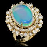 14K Gold 6.30ct Opal & 1.82ct Diamond Ring
