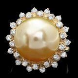 14k Gold 14 X 14mm Pearl 0.90ct Diamond Ring