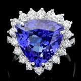 18k Gold 10.00ct Tanzanite 1.10ct Diamond Ring