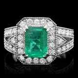 14k White Gold 2.00ct Emerald 1.30ct Diamond Ring