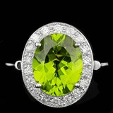 14k White Gold 5.00ct Peridot 0.70ct Diamond Ring