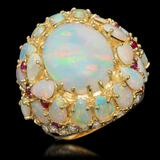 14k Yellow Gold 12.46ct Opal 0.39ct Ruby 1.20ct Diamond Ring