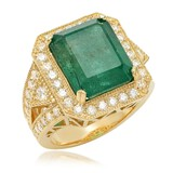 14K Yellow Gold, 8.00cts Emerald, 1.60cts Diamond Ring