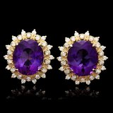 14k Gold 15ct Amethyst 1.3ct Diamond Earrings