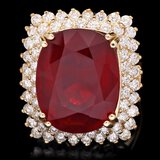 14k Yellow Gold 15.00ct Ruby 1.50ct Diamond Ring