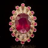 14k Gold 19.23ct Ruby 1.10ct Diamond Ring