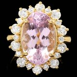 14k Gold 10.00ct Kunzite 1.55ct Diamond Ring