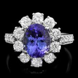14k Gold 2.60ct Tanzanite 1.60ct Diamond Ring