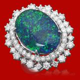 14k Gold 6.48ct Opal 1.76ct Diamond Ring