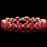 14k Gold 55.00ct Ruby 1.35ct Diamond Bracelet