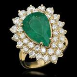 14K Gold 5.37ct Emerald 2.72ct Diamond Ring