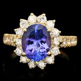 14k Gold 2.70ct Tanzanite 0.90ct Diamond Ring