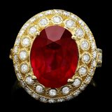 14k Yellow Gold 6.00ct Ruby 1.10ct Diamond Ring