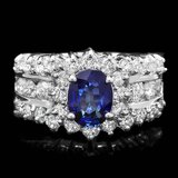 14k Gold 1.00ct Sapphire 1.55ct Diamond Ring