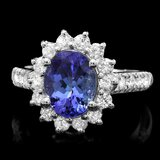 14k White Gold 2.5ct Tanzanite 1ct Diamond Ring