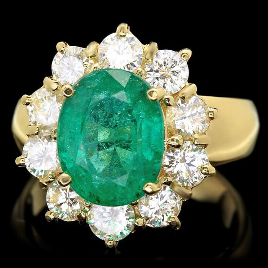 14k Gold 4.00ct Emerald 1.80ct Diamond Ring