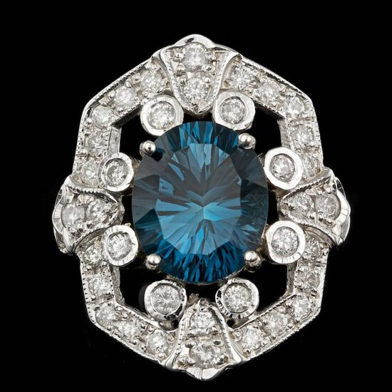 14k White Gold 6.00ct Topaz 2.30ct Diamond Ring