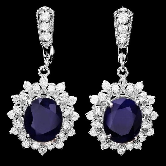 14k Gold 9ct Sapphire 1.90ct Diamond Earrings
