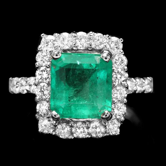 14k White Gold 1.50ct Emerald 1.15ct Diamond Ring