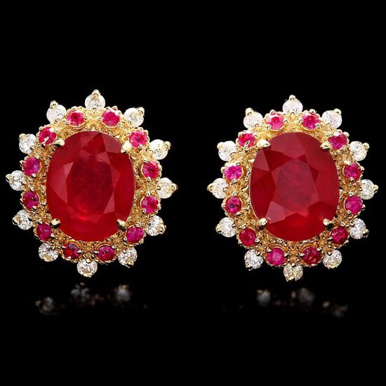 14k Gold 8.6ct Ruby 0.70ct Diamond Earrings