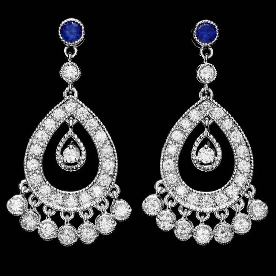 14k Gold 3ct Diamond 0.70ct Sapphire Earrings