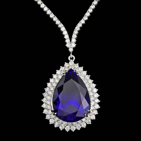 18k 38.00ct Tanzanite 12.35ct Diamond Necklace