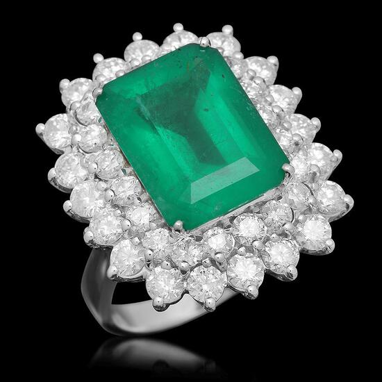 14K Gold 6.92 Emerald 2.75 Diamond Ring