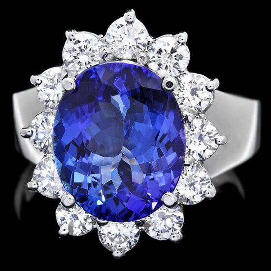 14k Gold 5.00ct Tanzanite 1.40ct Diamond Ring