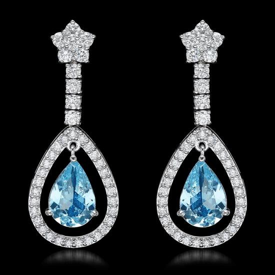 14k White Gold 4.50ct Aquamarine 2.75ct Diamond Earrings