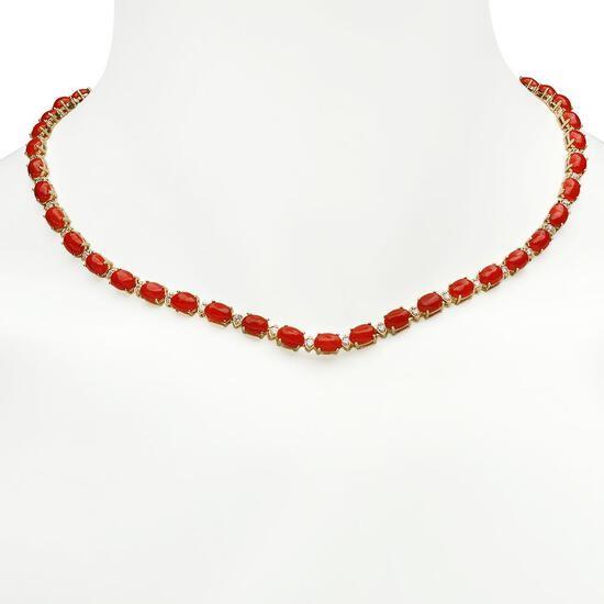 14K Gold 26.32ct Coral 1.79ct Diamond Necklace