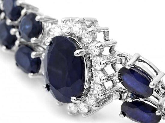 14k Gold 22ct Sapphire 1.85ct Diamond Bracelet