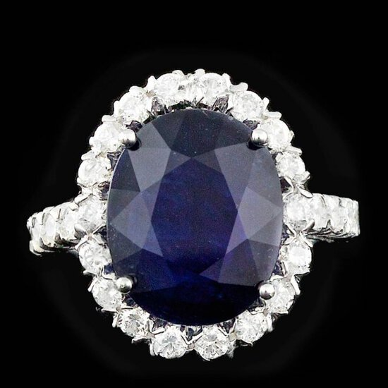 14k Gold 8.00ct Sapphire 1.25ct Diamond Ring