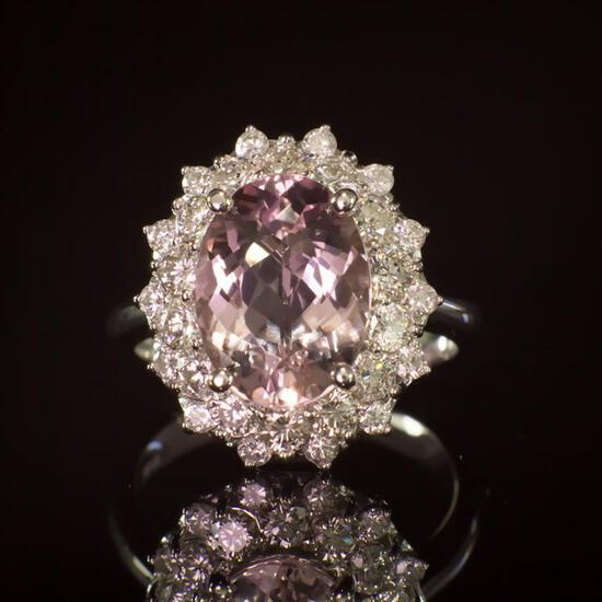 14K Gold 3.84ct Morganite 1.50ct Diamond Ring