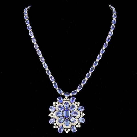 14k Gold 52ct Tanzanite 4.50ct Diamond Necklace