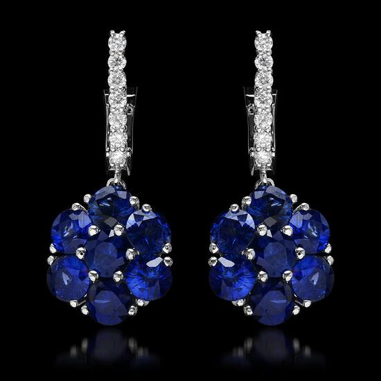 14k White Gold 5.64ct Sapphire 0.58ct Diamond Earrings
