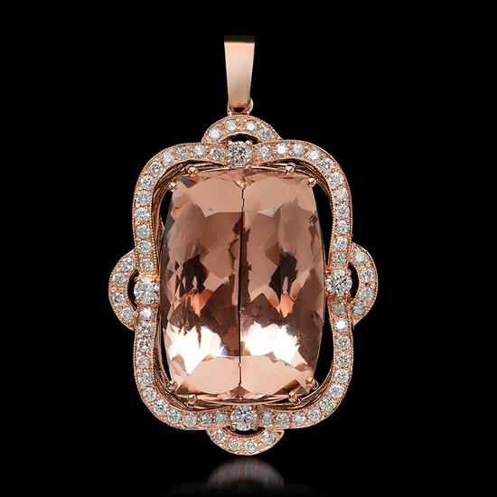 14K Gold 46.68ct Morganite 2.07ct Diamond Pendant